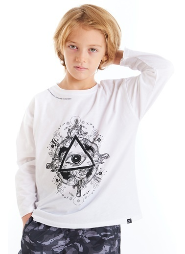 Colorinas Mystic Baskılı Tshirt Unisex Beyaz Beyaz